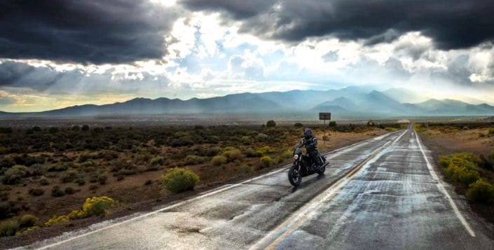 motorcycle driving in bad weather