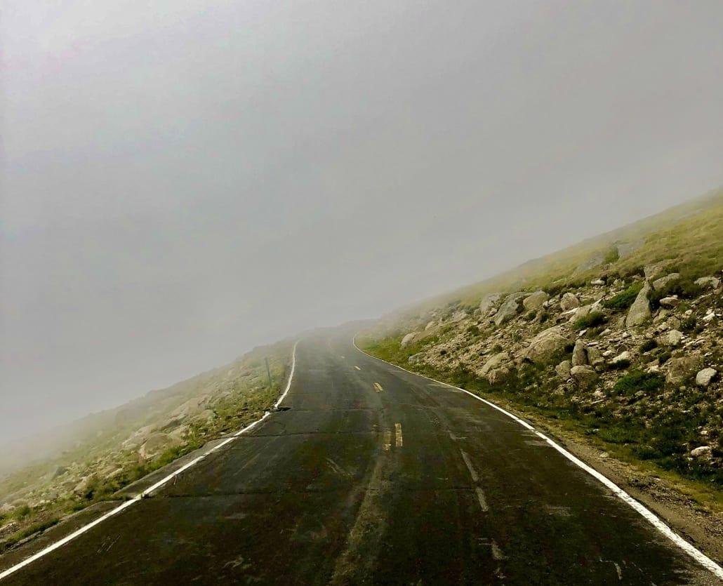 Foggy Road to Mt Evans Colorado