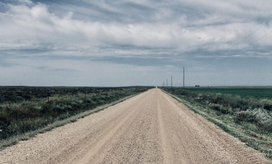 gravel road in badlands