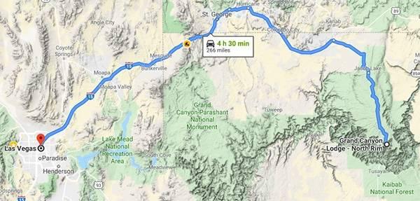 north rim to vegas road trip